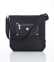 "Smaller Size ""Silvi"" Cross Body Bag In Black Quilted Nylon - SL80132"