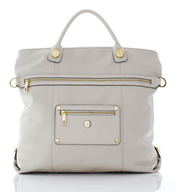"""Oria"" Tote Style Ivory Leather Handbag - SL80044"