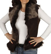 Ladies Raw Edge Tuscana Lambskin Gillet - SL126511