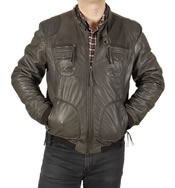 BIKER STYLE BOMBER JACKET IN GREY LEATHER - SL100253