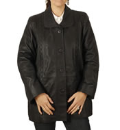 Ladies Broad Fitting 3/4 Matt Carcoal Leather Jacket With Inlaid Detail - SL13415