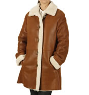 Ladies A-Line 3/4 Length Sheepskin Coat - SL117751
