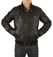 Multi Zip Pocket Men's Leather Bomber Jacket - SL10026