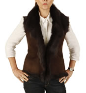 Ladies Raw Edge Tuscana Lambskin Gillet - SL126512