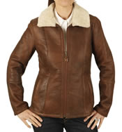 Ladies Zip Up Sheepskin Jacket In Antique Rust Brown - SL12603