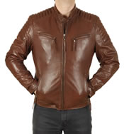 Cognac Leather Biker Jacket With Ribbing Detail - SL10125