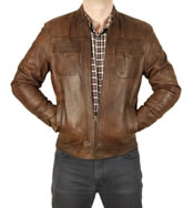 Antique Brown Leather Pocketed Biker Jacket - SL101212