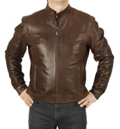 """Fitted"" Antique Brown Leather Biker Jacket - SL1121"