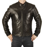 """Fitted"" Black Leather Biker Jacket - SL1120"