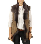 Ladies Longer Tuscana Lambskin Gillet In Vole - SL126514