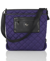 """Silvi"" Cross Body Bag  In Purple Quilted Nylon - SL80131"