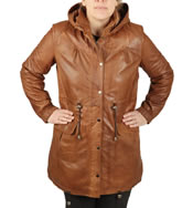 Ladies 3/4 Tan Leather Hooded  Parker - SL11914
