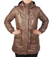 Ladies 3/4 Taupe Leather Hooded  Parker - SL11915