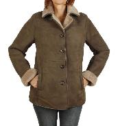 Ladies Shaped Classic Sheepskin Coat In Taupe - SL1177181