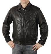 Mens  Classical Style Black  Leather Blouson - SL1116