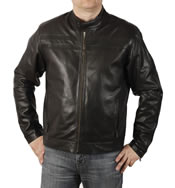 Self Colour Striped  Black Leather  Biker Jacket  - SL1010