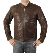 Self Colour 'Striped' Antique Brown Leather Biker Jacket - SL1010A
