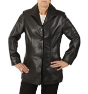 Ladies Tailored Four Button Black Leather Jacket - SL1165
