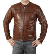 Self Colour 'Striped' Vintage Tan Leather Biker Jacket - SL1010T