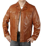 "Button-Up ""Pocketted"" Retro Style Cognac Leather  Jacket - SL1155"