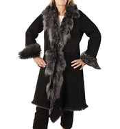 "Ladies 3/4 Shearling ""Tuscana"" Coat - SL1179"