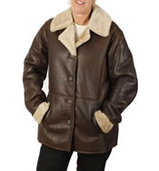 "Ladies Antique Brown  ""Nappa Lamb"" 3/4 Sheepskin Jacket - SL1261"