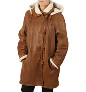 "Ladies Tan ""Nappalamb"" Sheepskin Duffle Coat - SL1144"