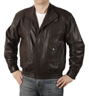 Mens Easy-Fit Blouson Style Chocolate Brown Leather Jacket  - SL1113C