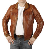 Antique Cognac  Leather Men's Bomber Jacket - SL10023