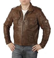 Straight Cut Brown Crinkle Leather Bomber - SL100261