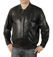 Lightweight Two Colour Fine Leather Blouson  - SL11323