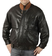 Two Colour Raglan Sleeve Mens Fine  Leather Blouson  - SL11324