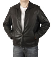 Zip Through Collar Black Leather Jacket - SL10081