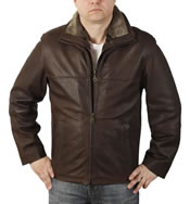 "Zip Up Brown ""Buff"" Leather Jacket With Detachable Collar - SL12092E"