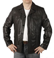 "Button-Up ""Pocketted"" Retro Style Black Leather  Jacket - SL11551"