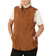 Traditional  Suede Finish Ladies Sheepskin Gillet In Tan - SL12652